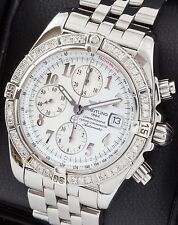 Mens Breitling Evolution Chronograph SS A13356 White Dial Diamond Bezel 43mm
