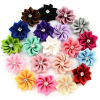 200pcs Mixed Colors Satin Ribbon Flower Rhineston Appliques Craft Sewing 25MM