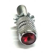 """Chrome Billet """"Red"""" Knurled Crystal Thumbscrew Seat Bolt for 1996 up Harley"""