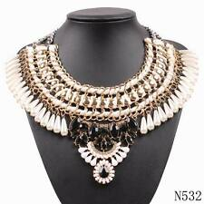 new design gold plated chunky statement string braided tear drop pearl necklace