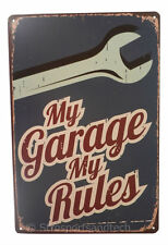 Garage Rules Mechanic Tin Sign Bar Cafe Diner Wall Decor Retro Metal Vintage New