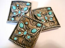 3 LARGE ANTIQUE SILVER S. WESTERN STYLE TURQUOISE BUTTERFLY 2 HOLES BEADS BARS