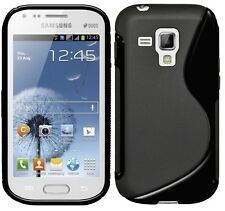 Amzer High Gloss TPU Hybrid Case Cover For Galaxy S Duos 2 S7582 S7562 - Black