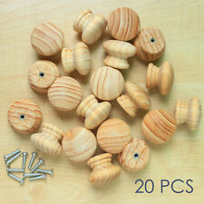 """wooden drawer cabinet knob pull unpolished pine wood grain round 1.5"""" 20 pc"""