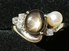 Vintage 14k Yellow Gold Black Star Sapphire Diamond Pearl Ring Estate Jewelry