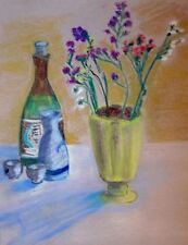 """free shipping-Sake and Flowers-19x15"""" original pastel painting on paper by JW"""