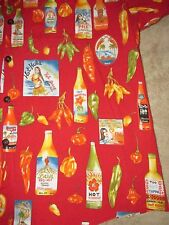 HWY Hula Girl Hot Sauce Peppers Button Up Hawaiian Shirt Sz 3XT Vacation Beach