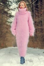 Pink hand knitted sweater slouchy long dress extra fuzzy on sale by SUPERTANYA
