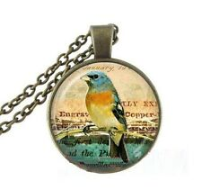 Vintage parrot Cabochon bronze Glass Chain Pendant Necklace @G52