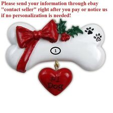 #1 DOG PUPPY DOG BONE PET HOLIDAY GIFT PERSONALIZED CHRISTMAS TREE ORNAMENT
