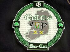 T-Shirt, SO-CAL SOCCER CELTIC CUP XX Black L White Green Irish Harp Shillelagh !