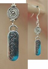 Silver Believe Charm Drop/Dangle Earrings Handmade Jewelry NEW Hook Fashion