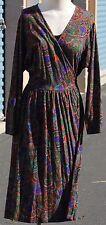 Vintage Diane Von Furstenburg Jersey Wrap Paisly Pattern Dress Size 12 Italy