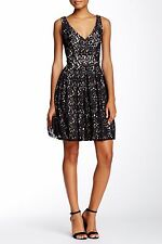 NWT BETSEY JOHNSON Sz4 LACE OVERLAY BOX PLEAT SLEEVELESS DRESS NUDE / BLACK $168