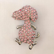 New Pink Cartoon Charlie Brown Snoopy Dog Crystals Brooch Pin Pet Gift BR1019