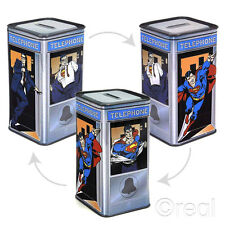 DC Clark Kent Superman To Phone Box Tin Piggy Bank Money Booth Official New