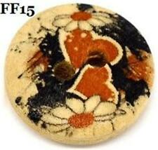 PACK OF 30 WOODEN BUTTONS 15mm - PRINTED DESIGN - 2 HOLES.................FF15