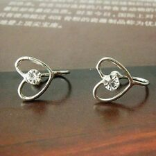 CLIP ON look-pierced HEART crystal studs STUD EARRINGS silver 18K gold plated