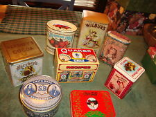 VINTAGE LOT ADVERTISING TINS-QUARKER OATS-HERSHEY'S-COCA COLA-SMITHS BROS. OTHER