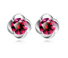 Sterling Silver Plum Blossom Flower Bling Swarovski Crystal Red Earrings gift