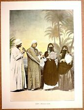 MUSICIENS ARABES en Égypte - Photochromie fin 19ème  gravure