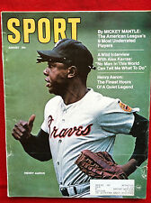 1970 HANK AARON ATLANTA BRAVES - MICKEY MANTLE ARTICLE SPORT MAGAZINE