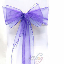 1Pcs Organza Chair Sash Bow Wedding Party Reception Decoration Light Purple