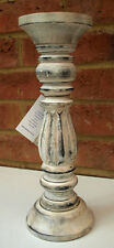 Wooden Carved Candle Stick Holder Vintage Chic 30cm Church Shabby Candlestick