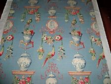 LEE JOFA KRAVET FRENCH TOILE BIRDS ROSES LINEN FABRIC 10 YARDS BLUE RED MULTI