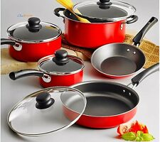 Tramontina Nonstick Cookware Set 9 Piece Essential Kitchen Pots And Pans RED New