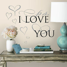 New PS I LOVE YOU WALL DECALS Quote Stickers Inspirational Quotes Decorations