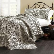 3 Piece Quilt Set Damask/Paisley Pattern Black and White Reversible King Size