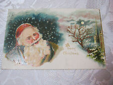 SANTA CHRISTMAS EMBOSSED ANTIQUE 1908 POSTCARD GERMANY    T*