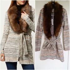 RIVER ISLAND CREAM TAN AZTEC PRINT JERSEY  BELTED FURRY COLLAR JACKET SIZE UK 16