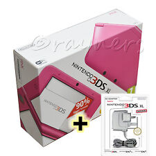 New | Pink Nintendo 3DS XL Console (UK 1st Generation) + AC Mains Bundle