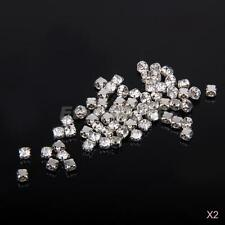 200p 4mm Clear Crystal Diamante Square Flatback Rhinestone Bead DIY Sewing Craft