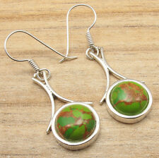 Fancy GREEN COPPER TURQUOISE Earrings ! Sterling Silver Plated Jewelry HANDMADE