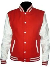 Varsity Wool Letterman Jacket Real Leather Sleeves size