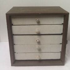 primitive Apothecary small Hand-Made wood chest of  5 drawers Dresser Antique