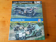 Italeri, Nuevo Y Sellado, 1/35, 1/4 Ton ambulancia Commando Car & Jeep Maquetas