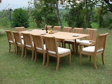 "Giva Grade-A Teak Wood 13pc Dining 117"" Rectangle Table Chair Set Outdoor Garden"