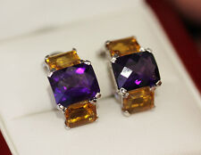 Gorgeous emerald cut Amethyst and Citrine earrings, in 14ct white gold.
