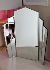 Fan All Glass Mirrored Art Deco Dressing Table Standing Make Up Gatsby Mirror