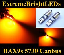 TWO Orange AMBER 6-SMD 5730 Canbus Error Free BAX9s 64132 LED Parking Lights
