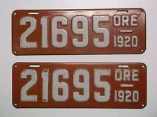 1920 Oregon ORE LICENSE PLATES Matching Auto Tags YOM Rare Gas Oil Sign MAN CAVE