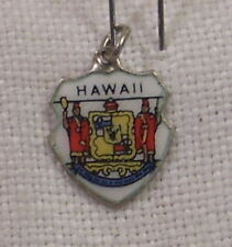 Vintage REU Sterling/Enamel Hawaii Crest/Coat of Arms Bracelet Travel Charm