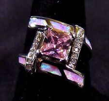 Sterling 925 Silver SF Size 10.5 Ring Pink Lab Fire Opal & 6mm Pink Topaz & WT