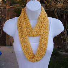 SUMMER SCARF Infinity Loop Solid Light Yellow Small Skinny Crochet Knit Necklace