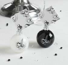 Pack of 6 Black & White Bauble Place Card Holders - Wedding / Party Accessories