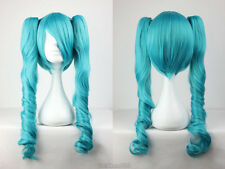 Hot Sell New Vocaloid Hatsune Miku Two Tone Curly Ponytails Blue Cosplay Wig+Cap